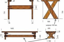 Схема для строительства передвижного столика в беседку