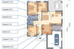 Схема проекта дома с террасой.