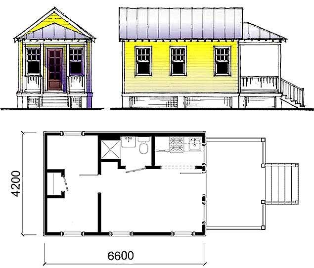 Схема дачного домика с небольшой террасой.