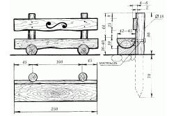 Схема скамьи из бревна