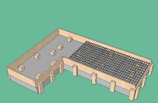 Схема фундамента летней кухни.