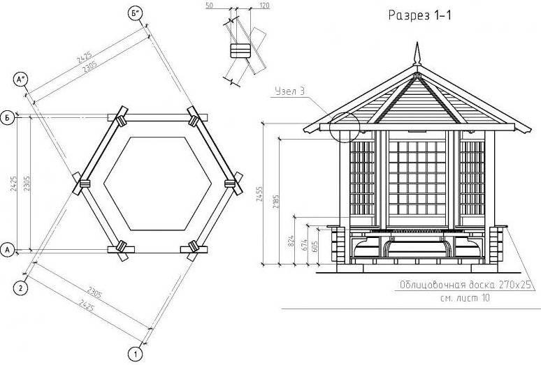Схема шестигранной беседки в разрезе.